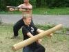 rolování a házení dřevěného kůlu/ocelové trubky na předloktí (jong gung)